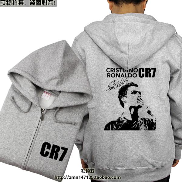 Cristiano Ronaldo men's cardigan zipper hoodies autumn winter CR7 print male sweatshirts fleece thicken plus size outerwear