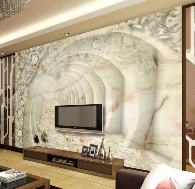 3D Wallpaper Marble Relief Pattern Custom 3d Wallpaper