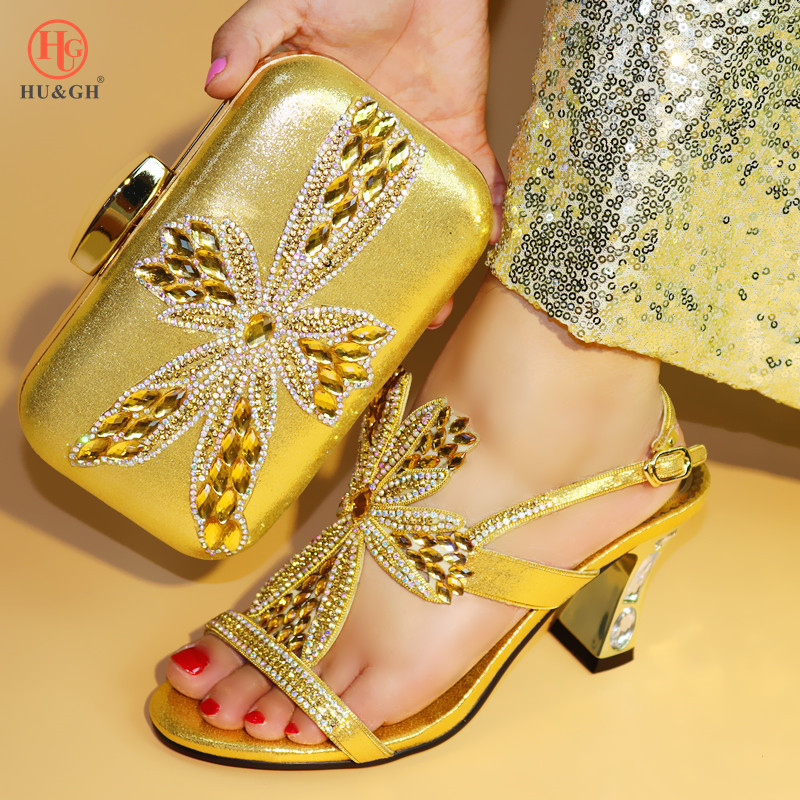 Newest Gold Color Summer Sandals High Heels African Shoes and Bag Set Italian For Party Nigerian Women Fashion Shoes and Bag Set africa style pumps shoes and matching bags set fashion summer style ladies high heels slipper and bag set for party ths17 1402
