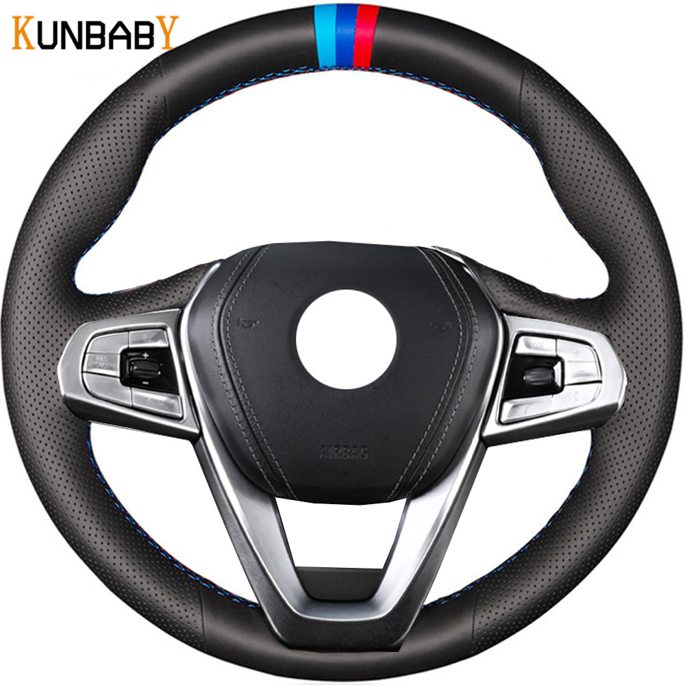 KUNBABY Car Styling Genuine Leather Car Steering Wheel Cover for BMW G30 530i 540i 520d 530e