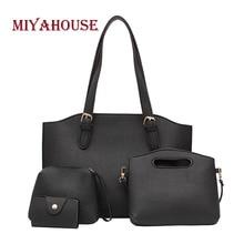 Miyahouse 4PCS/SET Luxury Female Shoulder Bag Solid Color Messenger Bag For Women PU Leather Fashion Crossbody Bag For Female