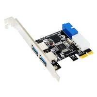 Etmakit offre spéciale USB 3.0 PCI-E carte d'extension externe 2 ports USB3.0 + interne 19pin en-tête PCIe carte 4pin IDE connecteur d'alimentation