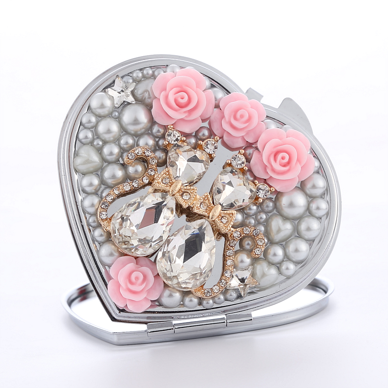 bling Crystal Mini Beauty pocket mirror makeup compact mirror,Normal+Magnify,love heart couple cat,wedding party bridesmaid gift