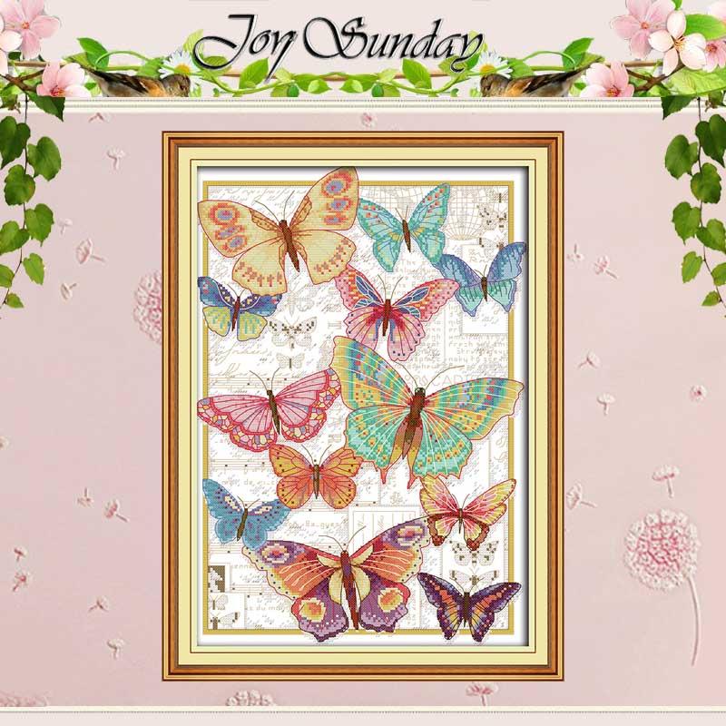 Schmetterlinge fliegen frei gezählt Kreuz Stich 11CT 14CT Kreuz Stich Set Großhandel DIY Kreuz-stich Kit Stickerei Hand