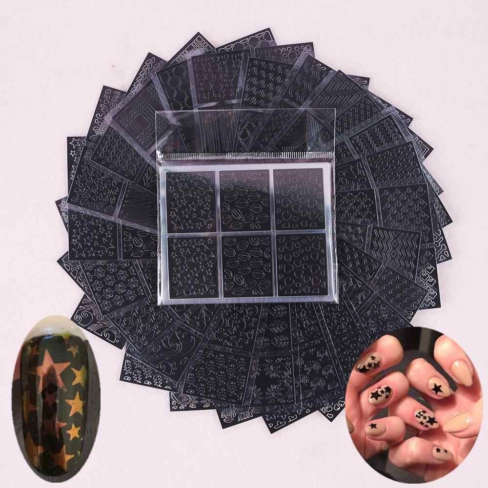 6 tips/vel Nail Art Hollow Laser Sticker Stencil Gel Polish Nail Vinyl Tip Transfer Guide Template Nail Decals kit