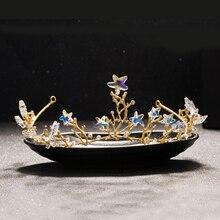 Vintage Handmade Gold Rhinestone Star Glass Hair Jewelry Bead Tiara Crown Bridal Headband Rhinestone Wedding Hair Accessories