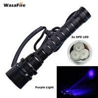 UV Led Diving Flashlight Waterproof Dive Torch Light 100m Underwater Flashlight Purple Light 3x XPE LED Ultraviolet Lamp Lantern