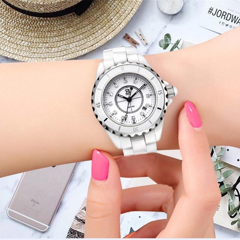 스위스 브랜드 하이테크 세라믹 아날로그 시계 여성 패션 팔찌 시계 일본 석영 달력 손목 시계 크리스탈-에서여성용 시계부터 시계 의  그룹 1
