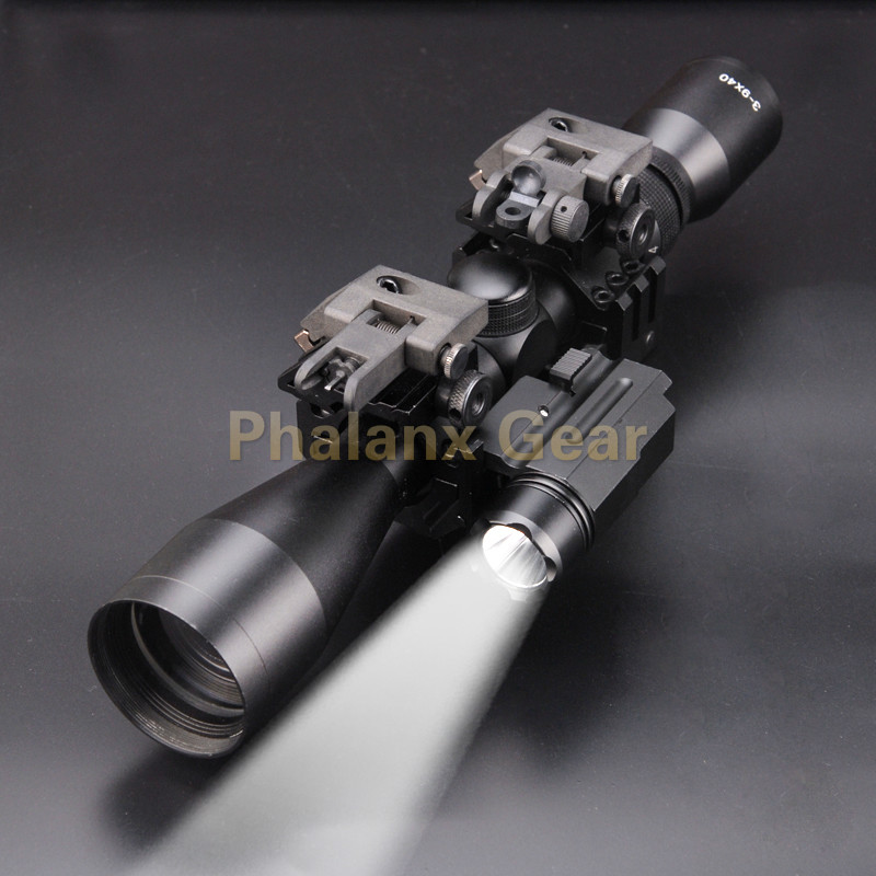 5 in 1 NEW 3-9x40 Hunting Scope Optics +QD 3 Side Rail Mounts for Rifle Airsoft +2 Pcs 45 Degree Mounts+ Tactical 800 LUMS torch hunting 3 9x40 optics illuminated tactical rifle scope
