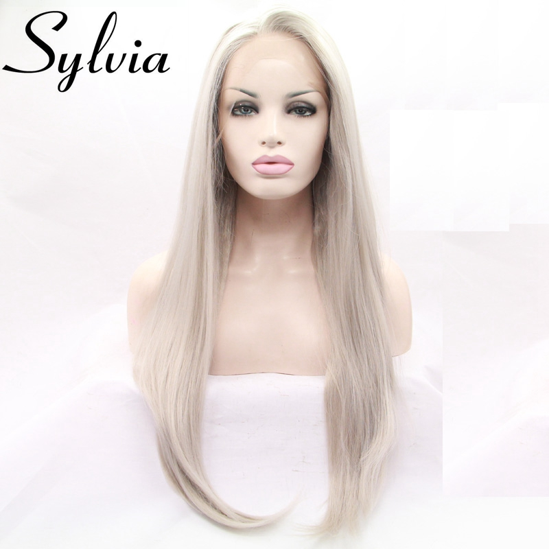 Sylvia Heat resistant Synthetic sliver ash blonde gray lace front wig Soft Long Silver Platinum Blonde