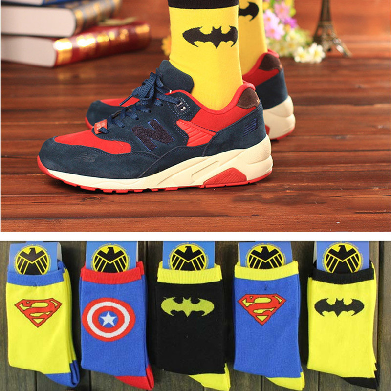 Avengers Marvel Cartoon Socks Spider-Man Captain America Batman Superman Cosplay Fashion Socks Novelty Funny Casual Unisex Socks