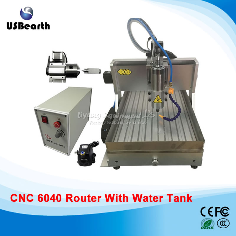 USB CNC Milling Machine 6040 1500 CNC Spindle Wood Carving Machine With Water Tank, Free Tax To Russia 6040z vfd 2 2kw usb 4axis 6040 cnc milling machine mini cnc router with usb port russia free tax