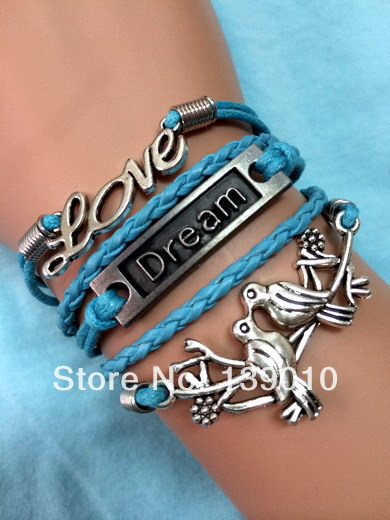 Wholesale Womens Men`s Letter LOVE DREAM Bird Jewelry Braided Blue Leather Rope Wraps Silver Alloy Cuff Charm Bracelets Bangles