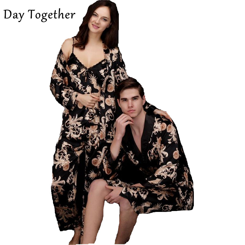 Couple Printed Dragon Kimono Robes Men Black Silk Satin Nightgown Women's Kimono Sexy Nightgowns Bathrobe Sleepwear Pajamas Sets