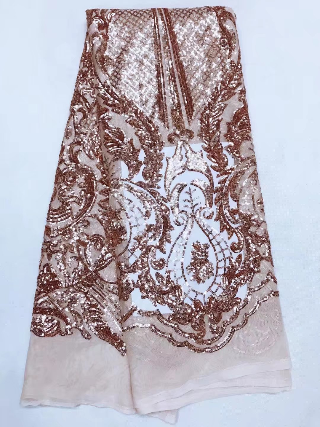 Rose gold sequin net fabric for sewing dress african voile for Sewing material for sale