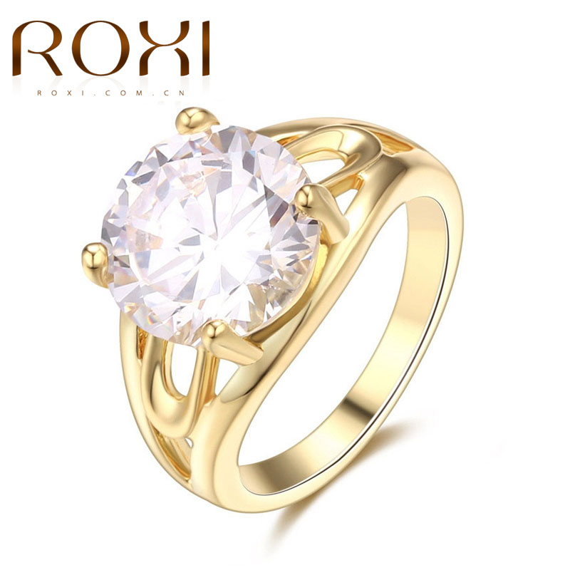 ROXI 2017 Wedding Engagement Rings for Women Gold Color Classic Sparkling Big Round Cubic Zirconia Forever Ring Fashion Jewelry