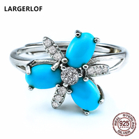 LARGERLOF Real 925 Sterling Silver Rings Jewelry Women Turquoise Fine Jewelry Vintage Rings