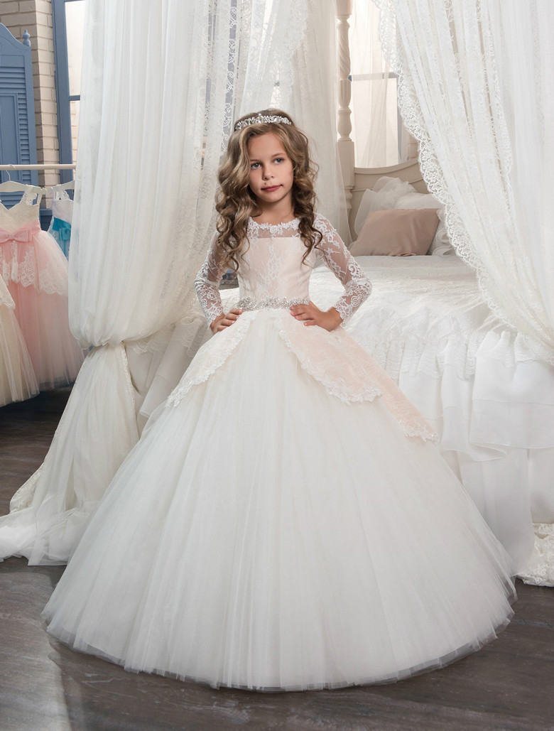 Gorgeous Hot Sales Flower Girl Dresses for Wedding Party with Sash Long Sleeve Lace Tulle Pageant Gown New First Communion Dress cute new long sleeves white ball gown flower girl dresses french lace beaded first communion dress with sequin bow and sash