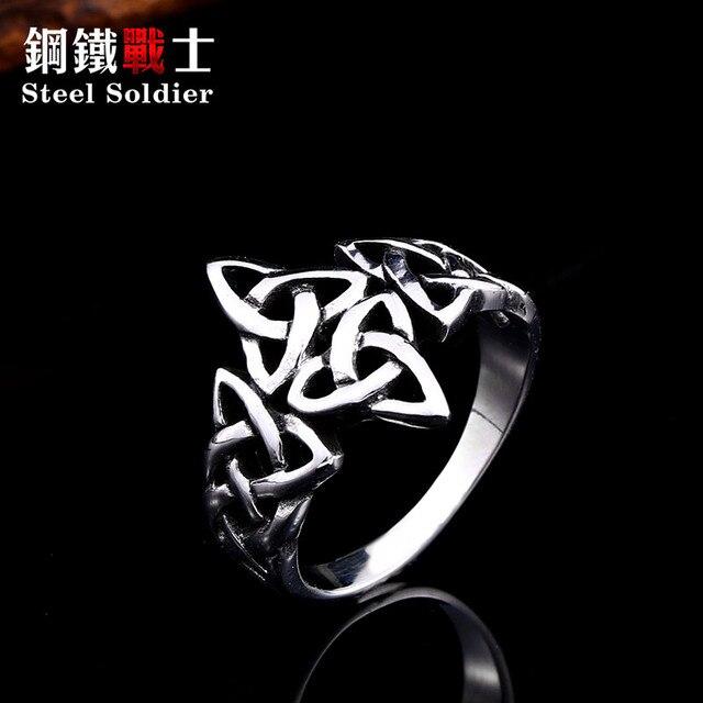 Soldat en acier celtique viking Nordise anneau en acier inoxydable populaire nature signet femmes bijoux de fiançailles 1