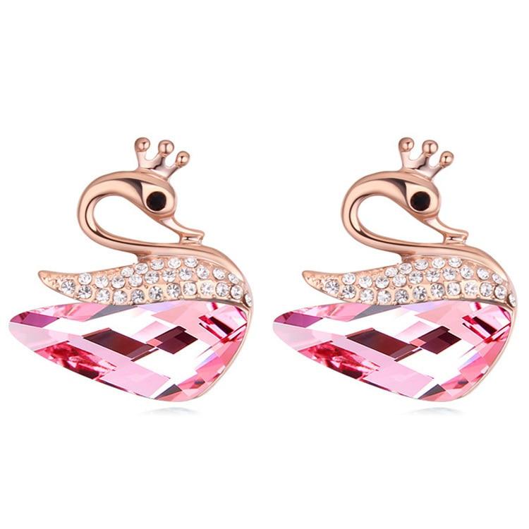 Swan Earrings Austrian Crystal Ear Piercing Earrings Studs Cute ...