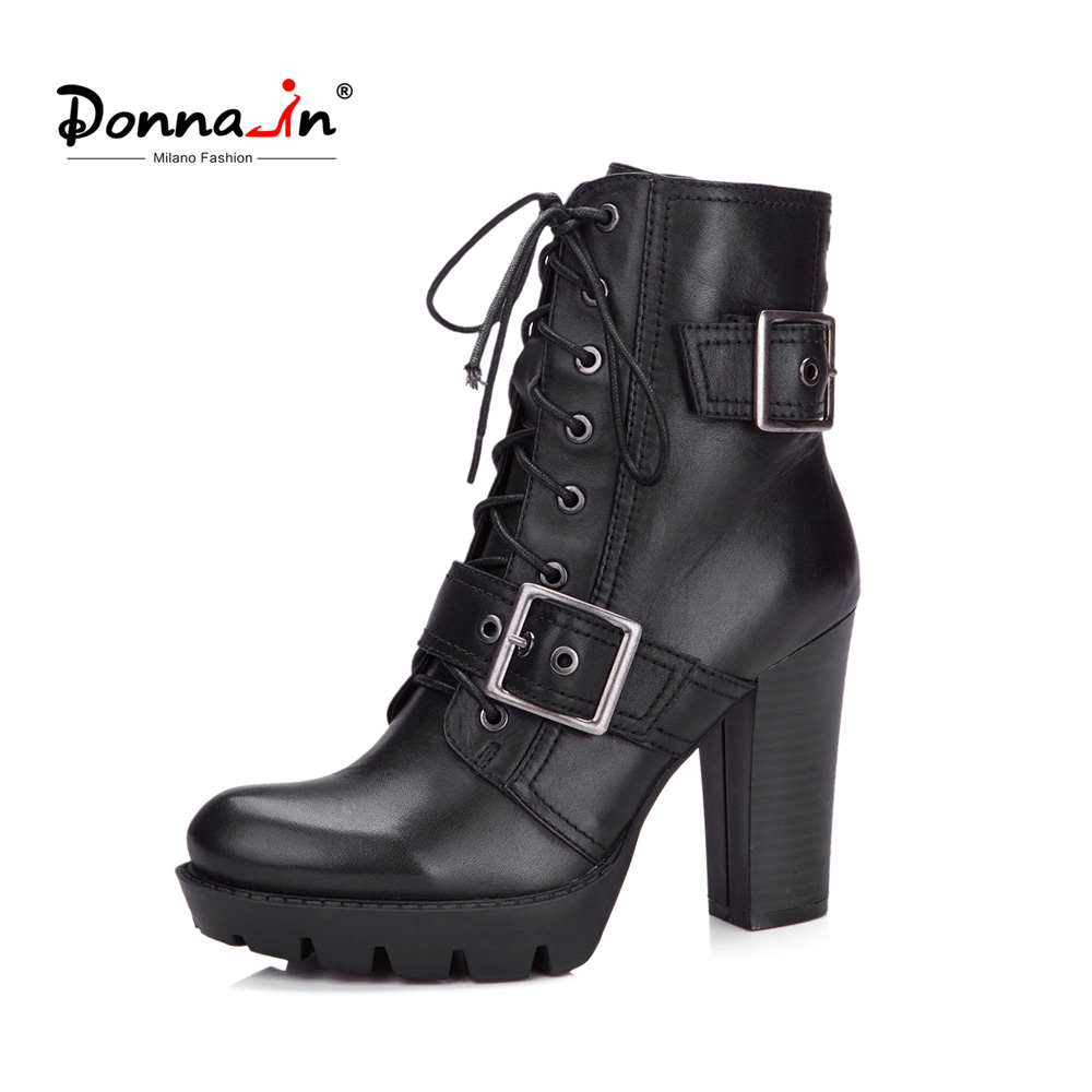 Donna-in Women Genuine Leather Boots Platform Over High Heels Shoes Lace Cross Strap Black Mid-calf Boots for Ladies prova perfetto black handmade women genuine leather mid calf boots buckle straps martin boots women platform rubber shoes woman