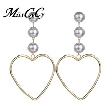 MissCyCy Big Heart Hanging Earrings For Women Fashion Korean Simulated Pearl Drop Earring Bijoux Brincos Jewellery Gift(China)