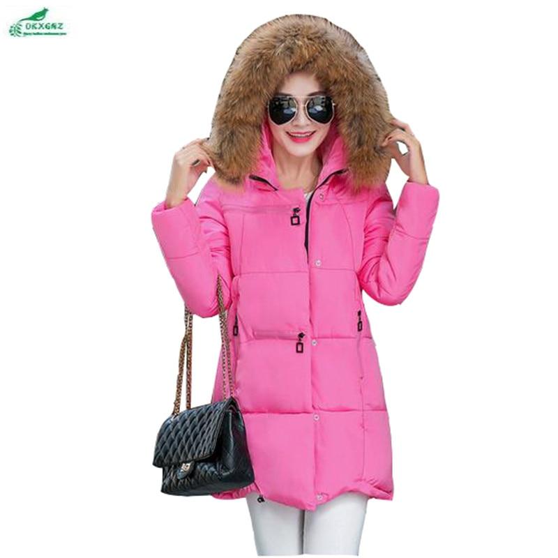 Winter cotton clothing women long section hooded fur  collar Outerwear women Korean big size Thicker cotton women coat OKXGNZQ97