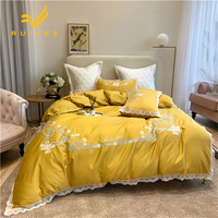 RUIYEE Brand 60s Egyptian long staple cotton comfort bed set embroidery quilt cover lace king size bedding sheets pillowcase