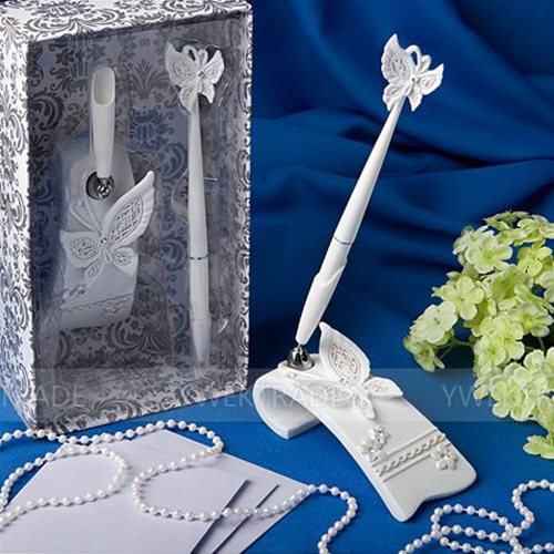 Free Shipping Butterfly Signature Pen Wedding Guest Register Pen Set Bridal Shower Resin Sign Pen & Holder Set Party Supplies
