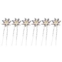 6PCs Graceful Elegant Bride Women Ivory Flower Rhinestone Simulated Pearls Hair Stick Hair Pin Prom Bridal