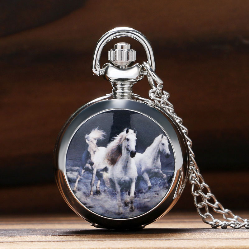 Retro Fashion Running Horse Design Quartz Pocket Watch Clock Necklace Pendant Chain for Women Men Gifts Relogio De Bolso P587 retro big pocket watches with fob chain running steam train antique style quartz watch pendant unisex gifts relogio de bolso