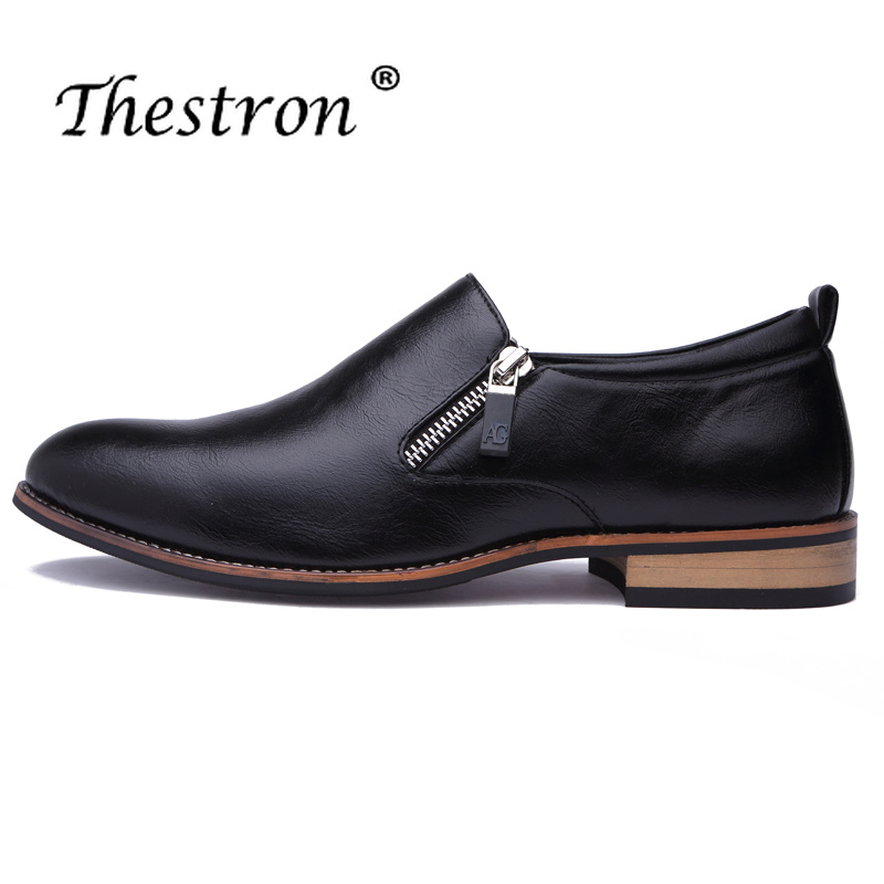 Thestron New Trend Men Pointed Toe Leather Derby Shoes Black Yellow Man Dress Split Zipper Formal Footwear