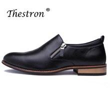 Thestron New Trend Men Pointed Toe Leather Derby Shoes Black Yellow Man Dress Split Zipper Formal Footwear