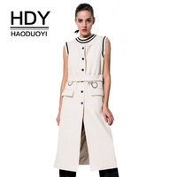 HDY Haoduoyi Beige Sleeveless Long Waistcoat Autumn Women Coat Slim Belt Single Breasted Jacket Fashion Coats Jackets Outwear