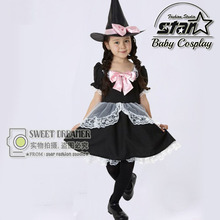 Cute Wizards Costume for Girl Kids Party Dresses Witch Costume Fancy Dress Harry Magician Party Performances