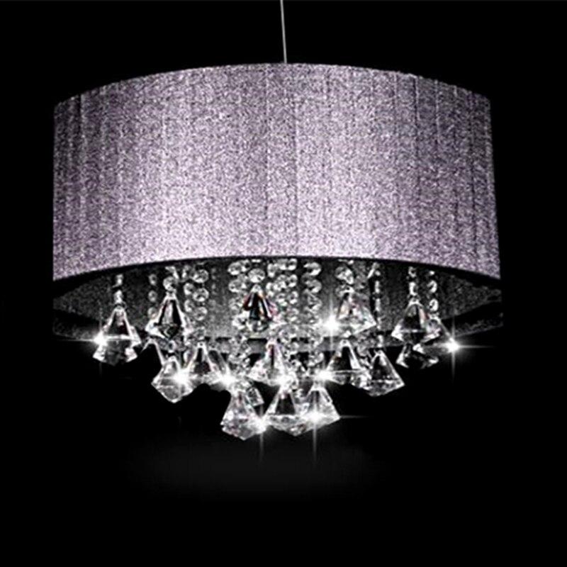 Personnalité créative tissu ovale K9 cristal lustre luminaria E14 lumière salon couloir lustres