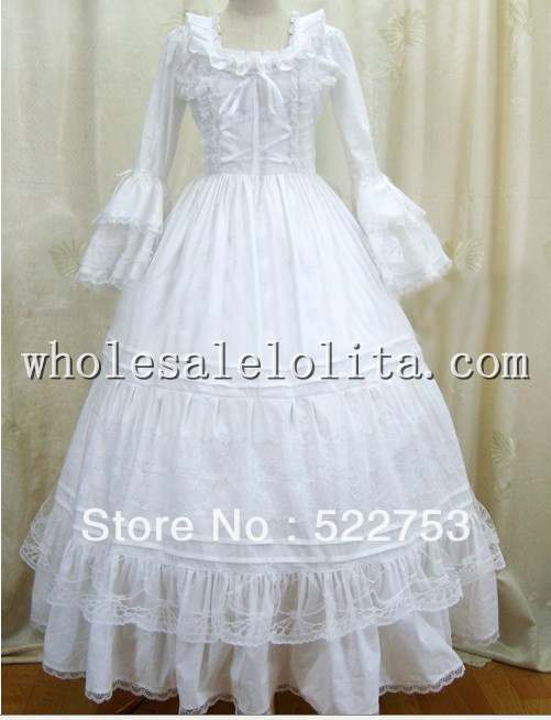 Custom Victorian Corset Dress Gothic/Civil War Southern Belle Ball Gown White Costume