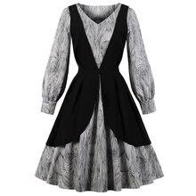 e9ffa2de6c Wipalo Kobiety Vintage Sukienka Audrey Hepburn 50 s Rockabilly Elegancka  Swing Party Suknie Patchwork Z Długim Rękawem Jesień Ve.