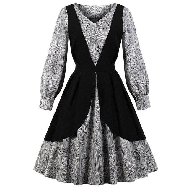 Wipalo Women Vintage Dress Audrey Hepburn 50s Rockabilly Elegant Swing Party  Dresses Patchwork Long Sleeve Autumn Vestidos Black 092c48e6da88