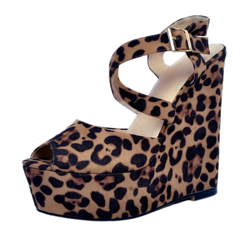 Sorbern Leopard Sandal For Women Wedge High Heels Ankle Straps Platform Open Toe Comfortable Summer Shoes New 2017 Buckle Strap - 3
