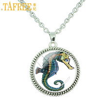 TAFREE handmade vintage hippocampus pendant chain necklace sea animal art glass cabochon jewelry women men necklace fashion E732(China)