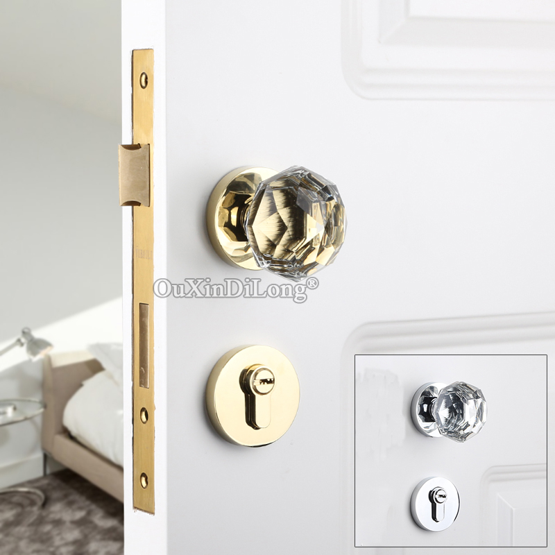 Top Luxury European Crystal Knobs Door Lock Set Interior Living Room Bedroom Bathroom Silent Door Lock Chrome/GoldTop Luxury European Crystal Knobs Door Lock Set Interior Living Room Bedroom Bathroom Silent Door Lock Chrome/Gold