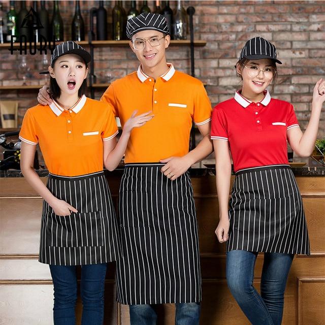 Waiter Uniform Hotel Work Clothes Men Women Short-sleeved Supermarket Hot Pot Restaurant Coffee Workwear Shirt+Free apron