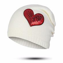 URDIAMOND Winter Hat Wool Cap Female Cartoon Embroidery Knitted Wool Hat Wild Heart shaped Hood Head