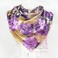 Женщины в шелк перчатка весна и осень ladys большой квадрат шелк шарф украшение фиолетовый цветок принт лето экран мыс