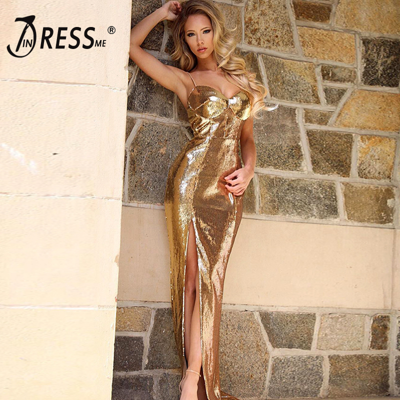 INDRESSME 2019 New Women Sexy Gold Sequin Shining Bling Spaghetti Deep V Neck Backless Sleeveless Party