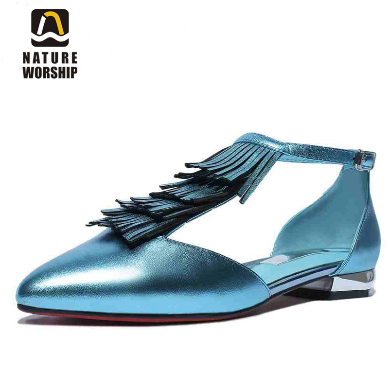 New women shoes fashion Full Grain Leather Gladiator flats Full Grain Leather Pointed Toe Retro style casual  Tassel shoes