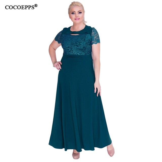6XL 2018 New lace Women Summer Dress plus Size Elegant long Dress ...