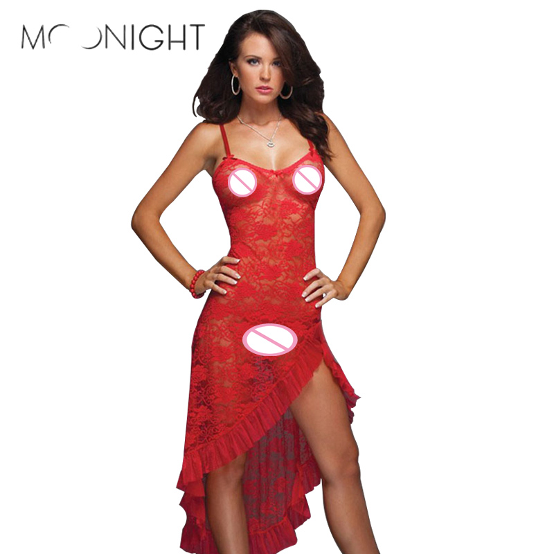 MOONIGHT V Neck Lace Visible Satin <font><b>Lingerie</b></font> Babydoll Hot Erotic Nightgown Women Hot <font><b>Sexy</b></font> <font><b>Femme</b></font> <font><b>Erotique</b></font> Sleepwear Plus Size image