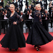 все цены на Cannes Film Festival Mother Of The Bride dresses long Sleeves V Neck Ankle Length Cheap plus size navy Lace For Weddings evening